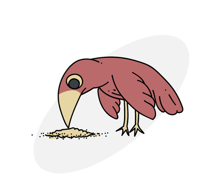Image of a bird pecking seeds. Stock Vector - 86999266