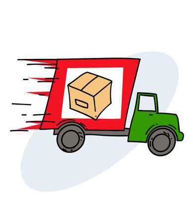 Hand drawn cartoon image of a fast delivery truck.