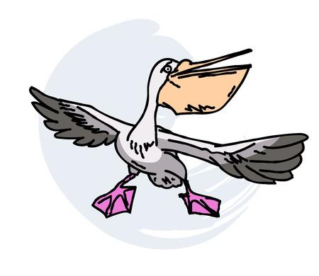 Hand drawn cartoon image of a pelican Ilustração