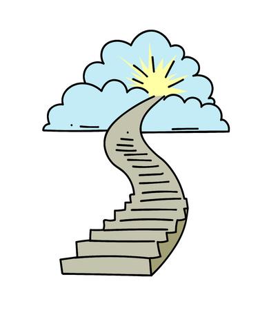 手は、天国への階段の漫画のイメージを描画します。