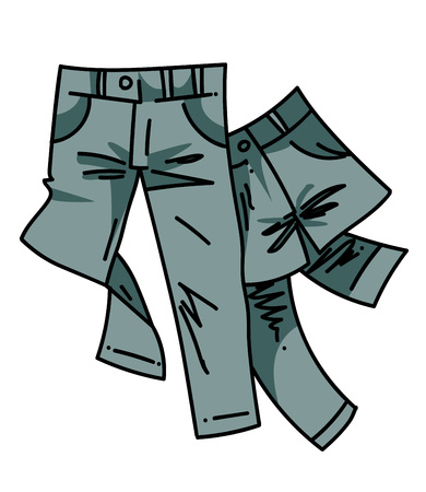 Hand drawn cartoon image of a pair of jeans. 向量圖像