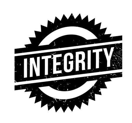 Integrity rubber stamp. Grunge design with dust scratches. Effects can be easily removed for a clean, crisp look. Color is easily changed. Illustration