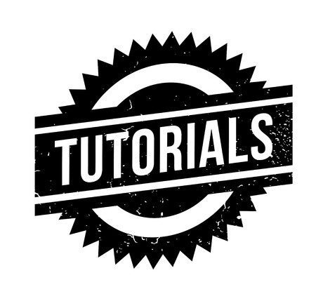 Tutorials rubber stamp. Grunge design with dust scratches. Effects can be easily removed for a clean, crisp look. Color is easily changed.