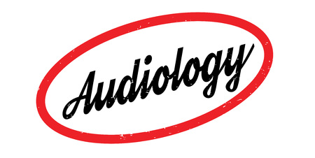 Audiology rubber stamp. Grunge design with dust scratches. Effects can be easily removed for a clean, crisp look. Color is easily changed.