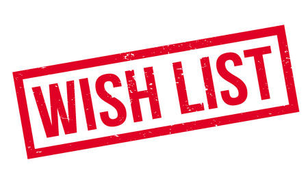 Wish List rubber stamp. Grunge design with dust scratches. Effects can be easily removed for a clean, crisp look. Color is easily changed. Vetores