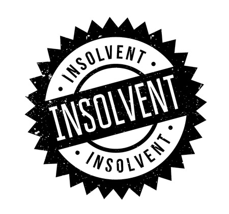 indebted: Insolvent rubber stamp. Grunge design with dust scratches. Effects can be easily removed for a clean, crisp look. Color is easily changed.