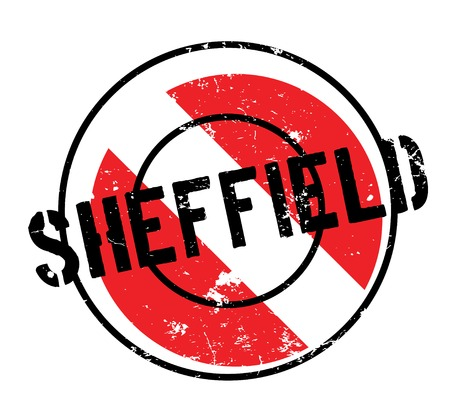 Sheffield rubber stamp. Grunge design with dust scratches. Effects can be easily removed for a clean, crisp look. Color is easily changed.