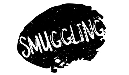 breaking law: Smuggling rubber stamp. Grunge design with dust scratches. Effects can be easily removed for a clean, crisp look. Color is easily changed. Illustration