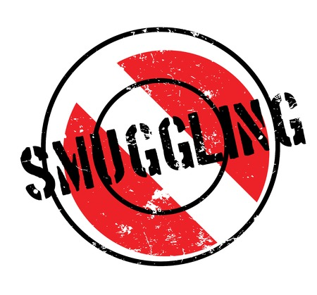 Smuggling rubber stamp. Grunge design with dust scratches. Effects can be easily removed for a clean, crisp look. Color is easily changed. Illustration