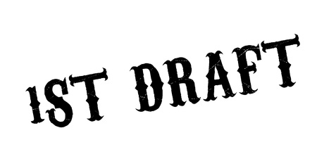 1St Draft rubber stamp. Grunge design with dust scratches. Effects can be easily removed for a clean, crisp look. Color is easily changed.