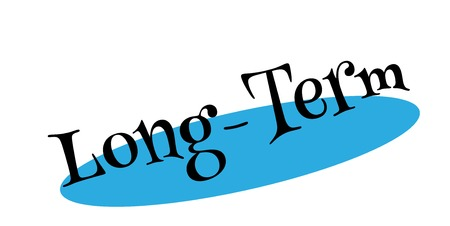 Long-Term - Rubber stamp design with blue backdrop.
