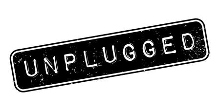 Unplugged rubberzegel. Grungeontwerp met stofkrassen. Effecten kunnen eenvoudig worden verwijderd voor een schone, heldere look. Kleur is gemakkelijk te veranderen. Stock Illustratie