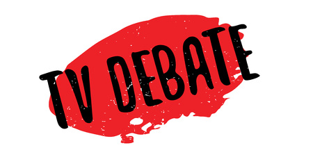 presidential: TV Debate rubber stamp. Grunge design with dust scratches. Effects can be easily removed for a clean, crisp look. Color is easily changed.