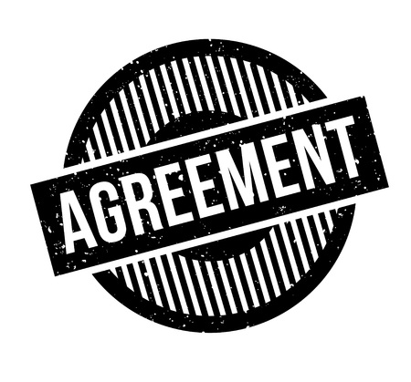 Agreement rubber stamp. Grunge design with dust scratches. Effects can be easily removed for a clean, crisp look. Color is easily changed.