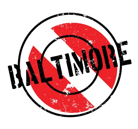 Baltimore rubber stamp. Grunge design with dust scratches. Effects can be easily removed for a clean, crisp look. Color is easily changed.