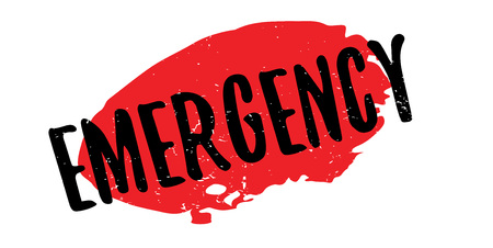Emergency rubber stamp. Grunge design with dust scratches. Effects can be easily removed for a clean, crisp look. Color is easily changed. Illustration