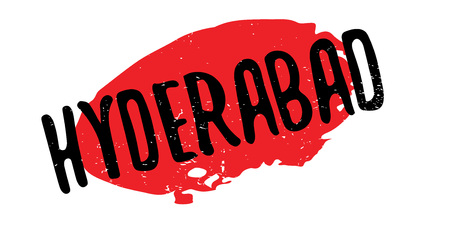 Hyderabad rubber stamp. Grunge design with dust scratches. Effects can be easily removed for a clean, crisp look. Color is easily changed.