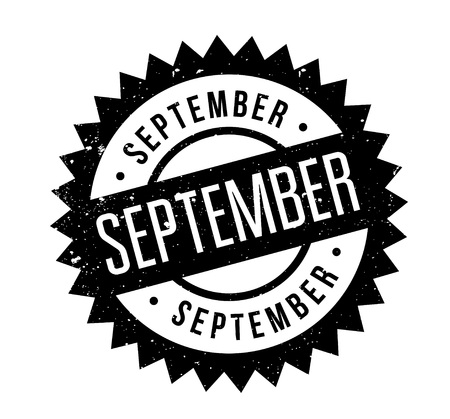September rubber stamp. Grunge design with dust scratches. Effects can be easily removed for a clean, crisp look. Color is easily changed. Illustration