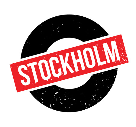 Stockholm rubber stamp. Grunge design with dust scratches. Effects can be easily removed for a clean, crisp look. Color is easily changed.