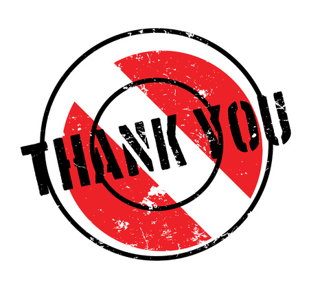 Thank You rubber stamp. Grunge design with dust scratches. Effects can be easily removed for a clean, crisp look. Color is easily changed. Illustration