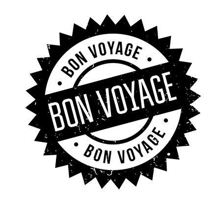 Bon Voyage rubber stamp. Grunge design with dust scratches. Effects can be easily removed for a clean, crisp look. Color is easily changed. Ilustração