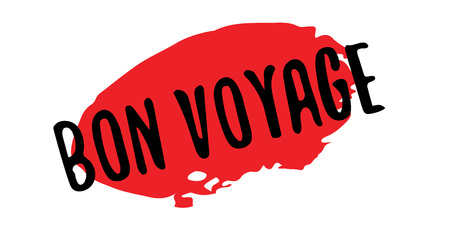 Bon Voyage rubber stamp. Grunge design with dust scratches. Effects can be easily removed for a clean, crisp look. Color is easily changed. Illustration