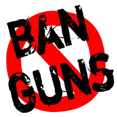 BAN GUNS sticker. Authentic design graphic stamp.