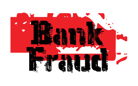 traders: BANK FRAUD sticker. Authentic design graphic stamp. Illustration