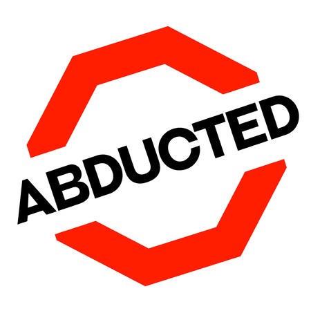 Abducted sticker. Authentic design graphic stamp. Original series