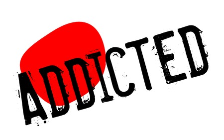ADDICTED sticker. Authentic design graphic stamp. Original series