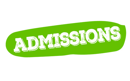 ADMISSIONS sticker. Authentic design graphic stamp. Original series Illustration