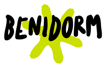 BENIDORM sticker. Authentic design graphic stamp. Original series Illustration