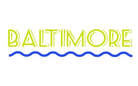 BALTIMORE sticker. Authentic design graphic stamp. Original series