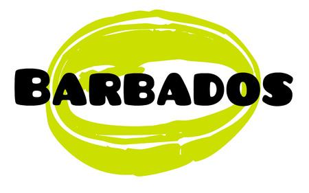 BARBADOS sticker. Authentic design graphic stamp. Original series
