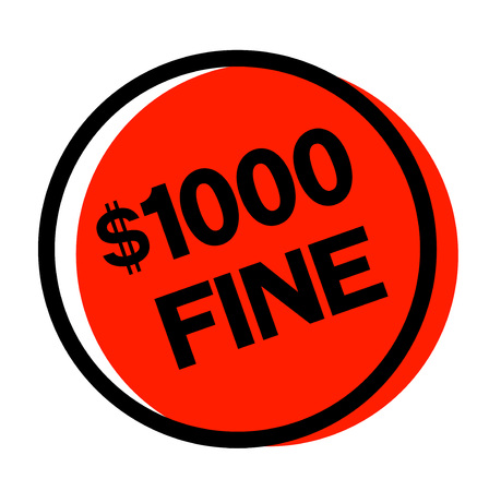 1000 dollar fine sticker. Authentic design graphic stamp.