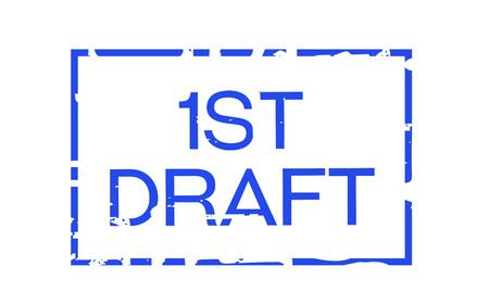 First draft sticker. Authentic design graphic stamp. Ilustração