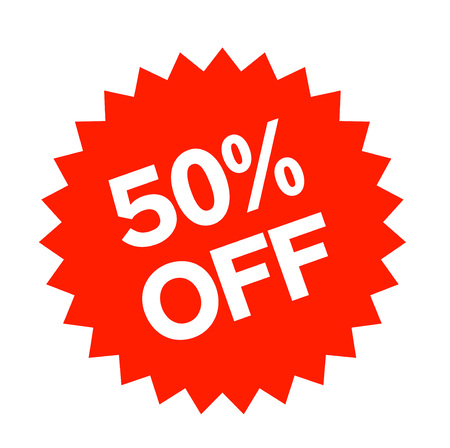 50 percent off sticker. Authentic design graphic stamp.