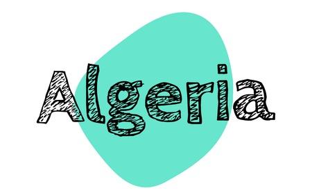 ALGERIA sticker. Authentic design graphic stamp. Original series