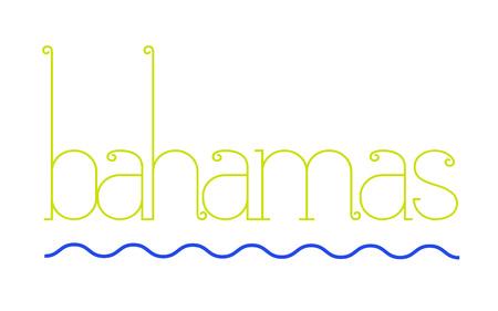 BAHAMAS sticker. Authentic design graphic stamp. Original series