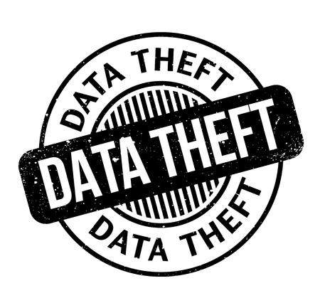 Data Theft rubber stamp. Grunge design with dust scratches. Effects can be easily removed for a clean, crisp look. Color is easily changed. Illustration