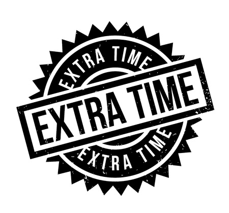 Extra Time rubber stamp. Grunge design with dust scratches. Effects can be easily removed for a clean, crisp look. Color is easily changed.