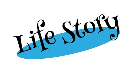 Life Story rubber stamp. Grunge design with dust scratches. Effects can be easily removed for a clean, crisp look. Color is easily changed.