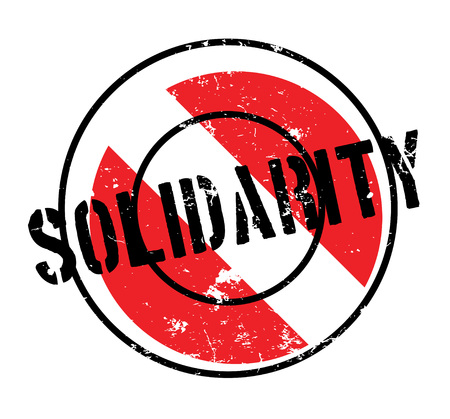 Solidarity rubber stamp. Grunge design with dust scratches. Effects can be easily removed for a clean, crisp look. Color is easily changed. Illustration