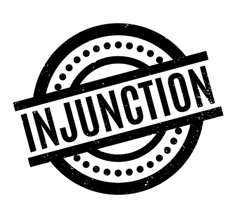 Injunction rubber stamp. Grunge design with dust scratches. Effects can be easily removed for a clean, crisp look. Color is easily changed. Illustration