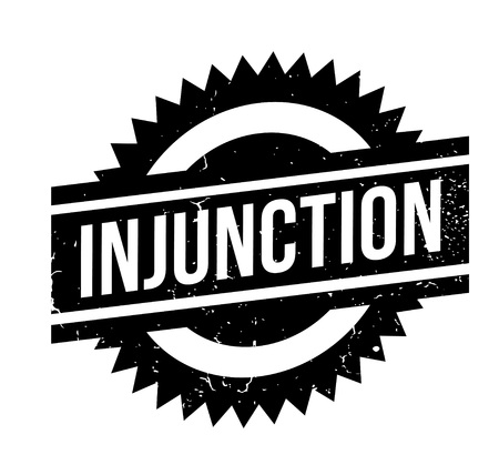 writ: Injunction rubber stamp. Grunge design with dust scratches. Effects can be easily removed for a clean, crisp look. Color is easily changed. Illustration
