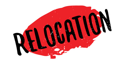 Relocation rubber stamp. Grunge design with dust scratches. Effects can be easily removed for a clean, crisp look. Color is easily changed.