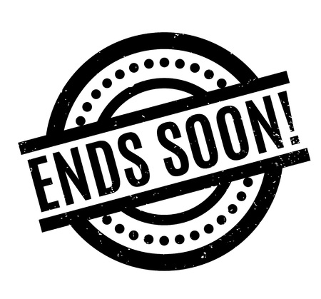 Ends Soon rubber stamp. Grunge design with dust scratches. Effects can be easily removed for a clean, crisp look. Color is easily changed.