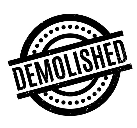 dismantle: Demolished rubber stamp. Grunge design with dust scratches. Effects can be easily removed for a clean, crisp look. Color is easily changed. Illustration