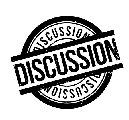 Discussion rubber stamp. Grunge design with dust scratches. Effects can be easily removed for a clean, crisp look. Color is easily changed.