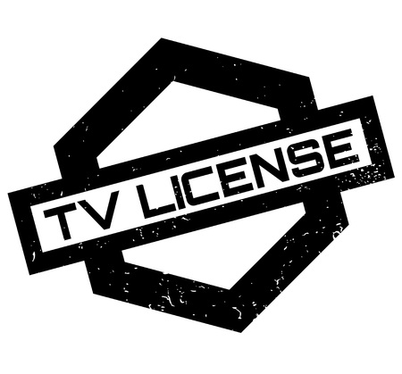 TV License rubber stamp. Grunge design with dust scratches. Effects can be easily removed for a clean, crisp look. Color is easily changed. Illustration